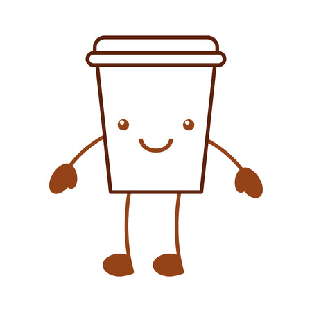 coffee plastic cup  character vector illustration design