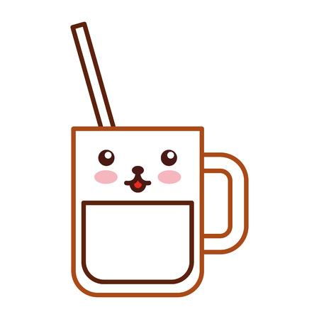 iced coffee glass kawaii character vector illustration design
