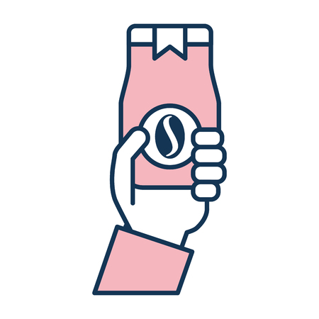 Hand human with coffee toast bag icon vector illustration design Ilustração