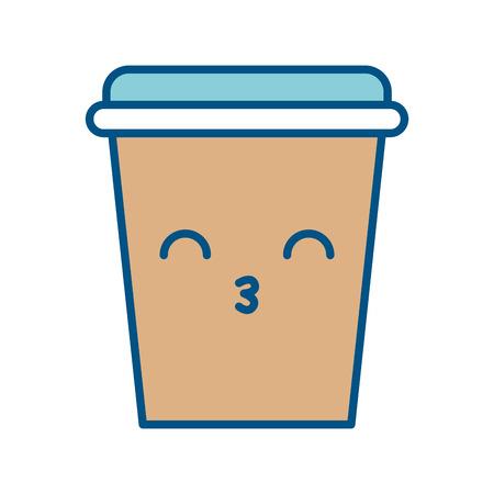 ふたかわいい文字ベクトル イラスト デザインとコーヒーのプラスチック カップ。  イラスト・ベクター素材