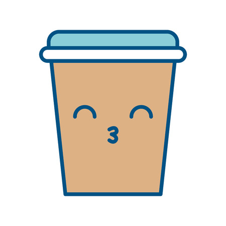 A coffee plastic cup with lid kawaii character vector illustration design.