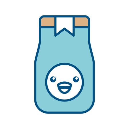 toasted: coffee toast bag kawaii character vector illustration design