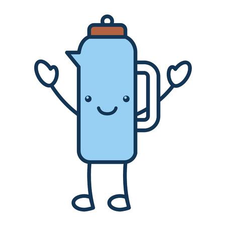 a coffee teapot kawaii character vector illustration design. Ilustração