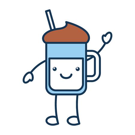 iced coffee glass  character vector illustration design Illustration