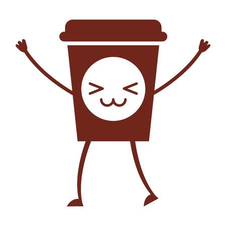 Coffee plastic cup character vector illustration design Ilustração