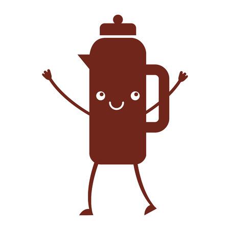 coffee teapot kawaii character vector illustration design
