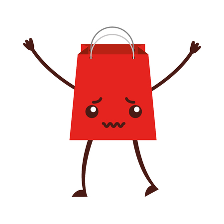 paper shopping bag character vector illustration design