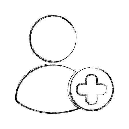 avatar gebruiker met plussymbool vectorillustratieontwerp