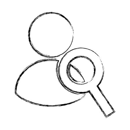 虫眼鏡ベクトル イラスト デザインを持つアバター ユーザー  イラスト・ベクター素材