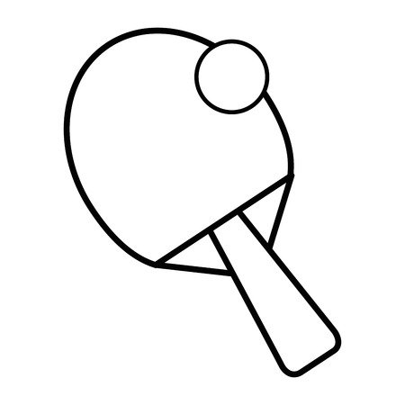 ping pong ball and racket icon over white background vector illustration