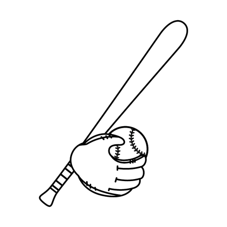 baseball bat, ball and glove icon over white background vector illustration
