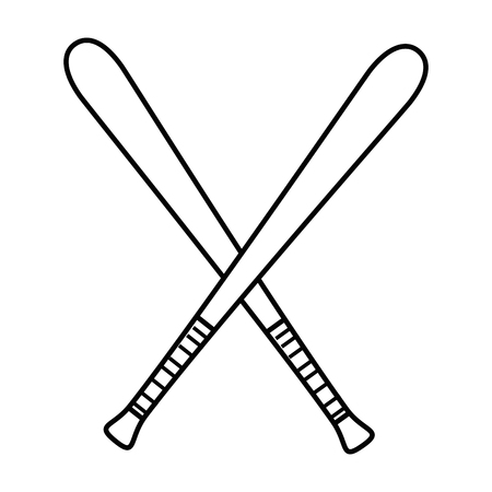 pastime: baseball bats crossed icon over white background vector illustration