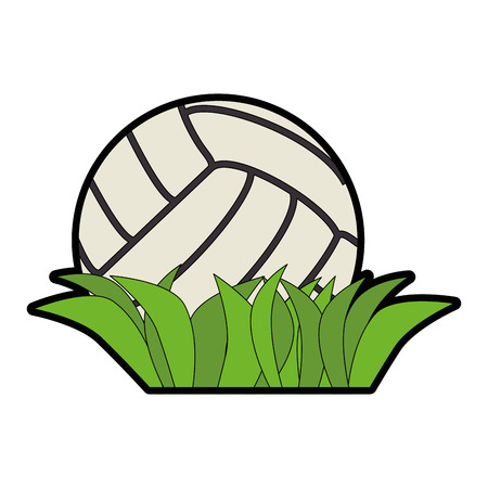 volleyball ball and grass icon over white background vector illustration