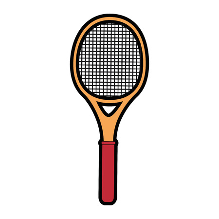 tennis racket icon over white background colorful design  vector illustration Ilustração