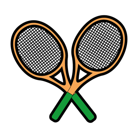 pastime: tennis racket icon over white background colorful design  vector illustration Illustration