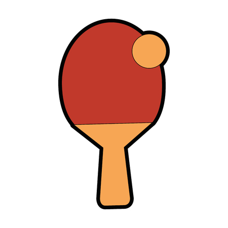 ping pong racket and ball icon over white background vector illustration Illustration