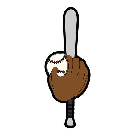 pastime: baseball bat, glove and ball icon over white background vector illustration Illustration