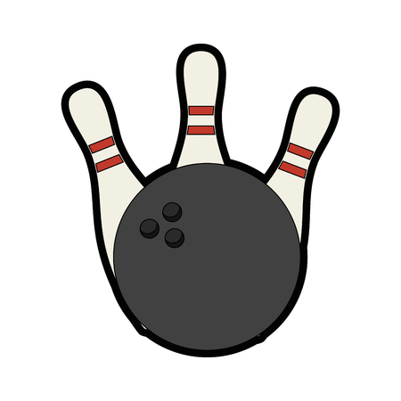 bowling ball and pins icon over white background vector illustration