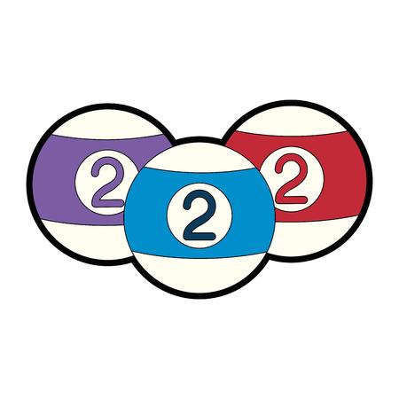 billards balls icon over white background colorful design vector illustration Illustration