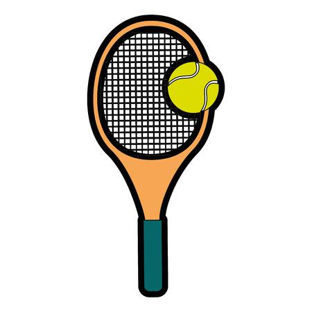 白地カラフルなデザインのベクトル図をテニスのラケットとボールのアイコン
