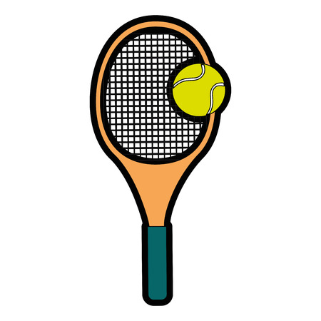 tennis racket and ball icon over white background colorful design  vector illustration Illustration
