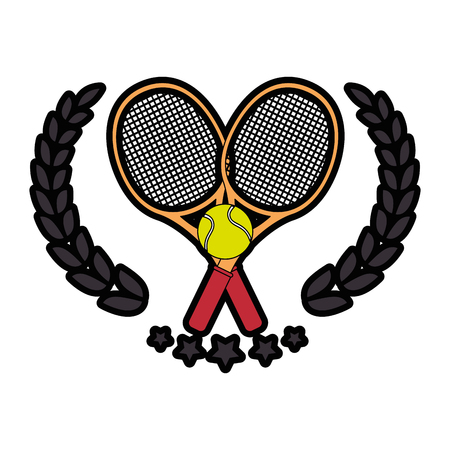 tennis emblem with racket icon over white background colorful design  vector illustration Illustration