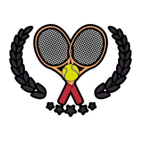 tennis emblem with racket icon over white background colorful design  vector illustration Ilustração
