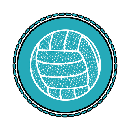 volleyball ball icon over blue circle and white background vector illustration