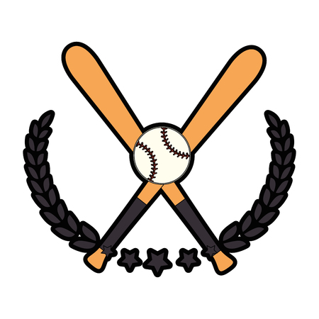 pastime: baseball emblem with bats icon over white background vector illustration