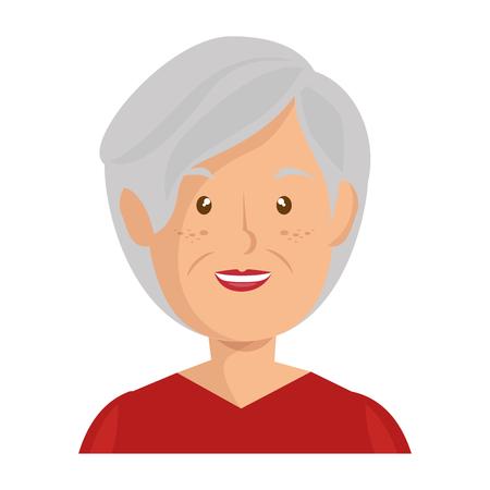 白い背景ベクトルイラストの上に漫画老婦人アイコン