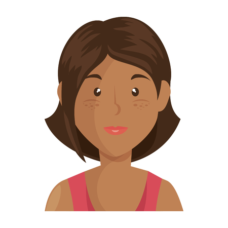 cartoon woman icon over white background vector illustration