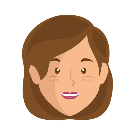 cartoon woman face icon over white background vector illustration Illustration