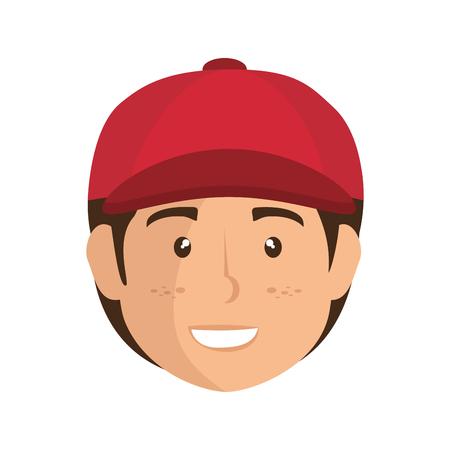 joyful: cartoon boy with a cap icon over white background colorful design vector illustration Illustration