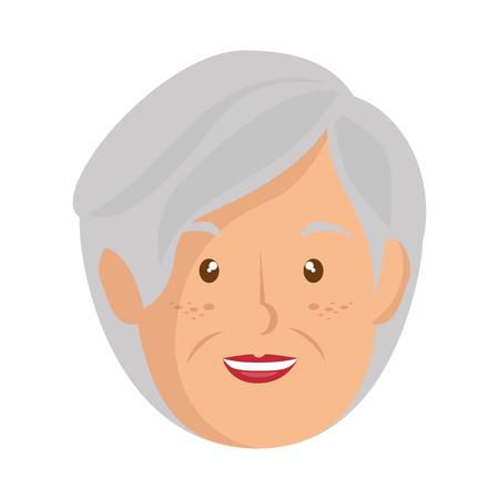 Icono de dibujos animados anciana sobre fondo blanco ilustración vectorial Foto de archivo - 80123198