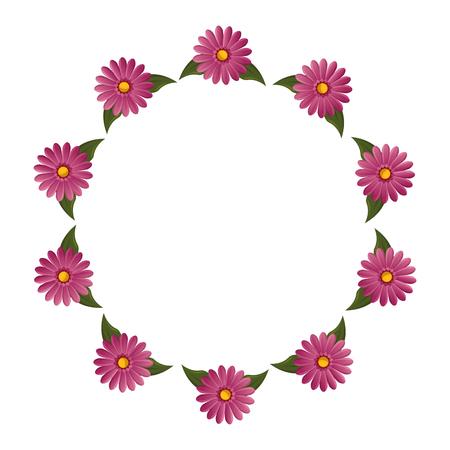 Cadre rond avec des fleurs icône illustration vectorielle conception graphique Banque d'images - 80123667