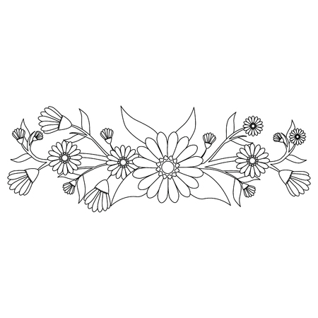 Beautiful ornamental flowers icon vector illustration graphic design Illustration