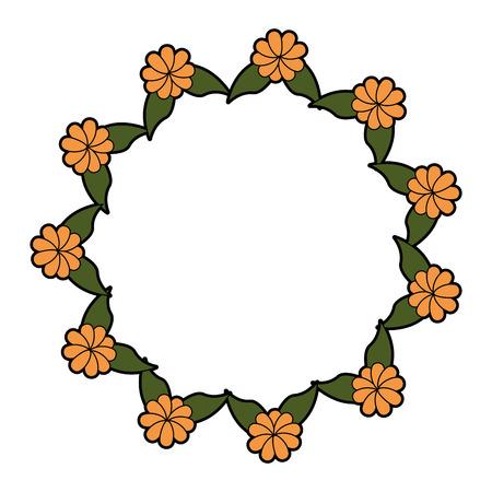 Cadre rond avec des fleurs icône illustration vectorielle conception graphique Banque d'images - 80127794