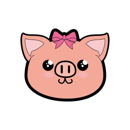 Pig kawaii cartoon icon vector illustration graphic design