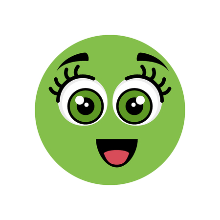 Cute cartoon face icon vector illustration graphic design
