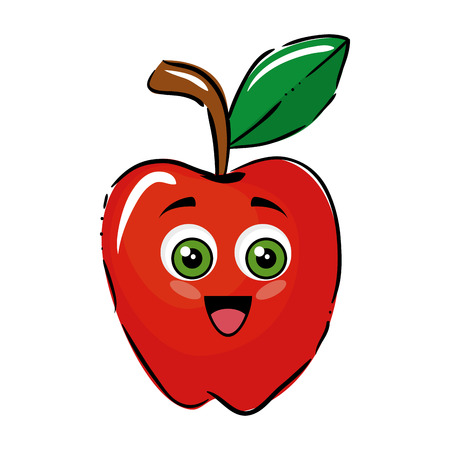 market gardening: apple funny cartoon icon vector illustration graphic design Illustration