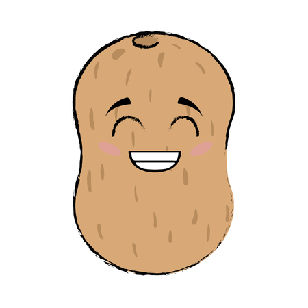 calorie: potato cartoon face icon vector illustration graphic design
