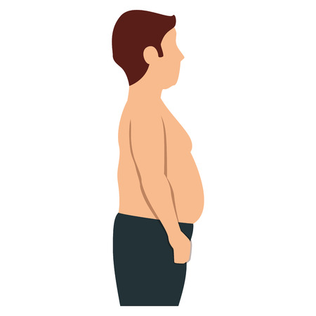 fat man shirtless character vector illustration design