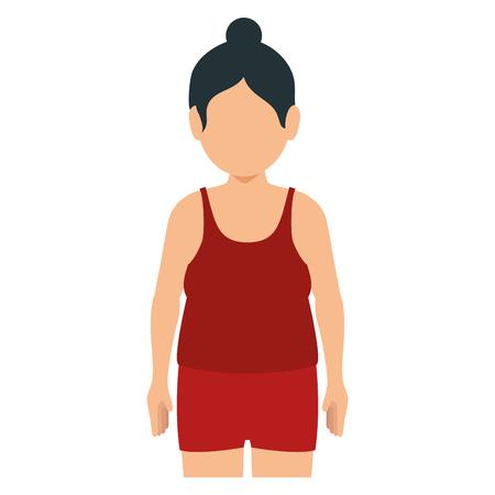 Fette Frau mit Sport tragen Vektor-Illustration Design Standard-Bild - 80198128
