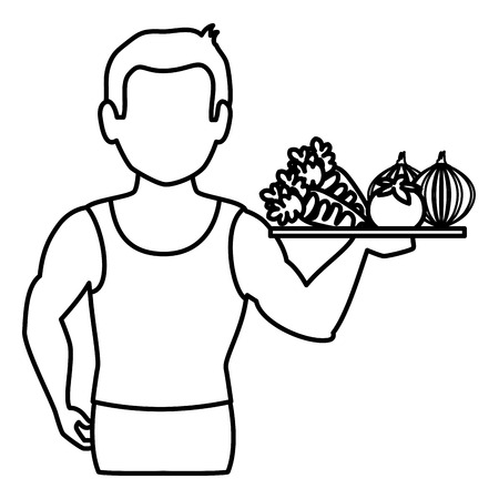 sportive: athletic man with vegetables tray character icon vector illustration design