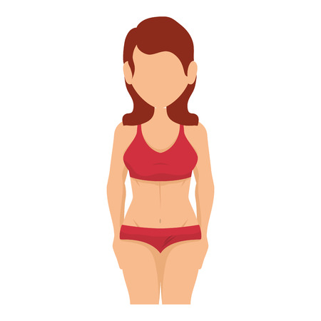 水着のアイコン ベクトル イラスト デザインを持つ女性