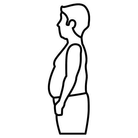 Fett Mann shirtless Zeichen Vektor-Illustration Design Standard-Bild - 80196514