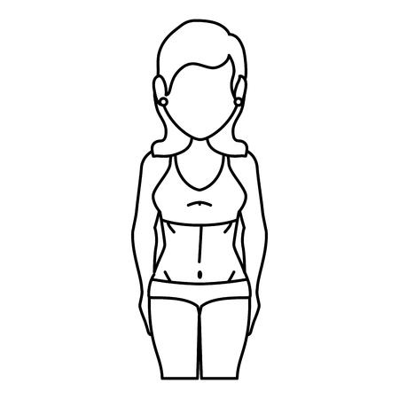 수영복 아이콘 벡터 일러스트 디자인을 가진 여자