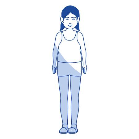 뚱뚱한 여자와 스포츠 착용 벡터 일러스트 디자인