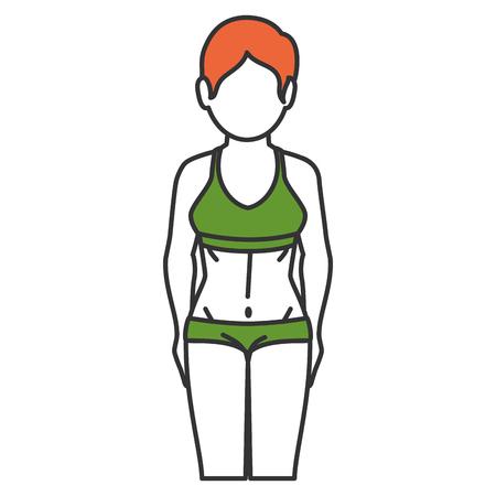 Frau mit Sportbekleidung Vektor-Illustration Design Standard-Bild - 80202966
