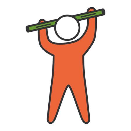 human silhouette lifting bar vector illustration design 向量圖像